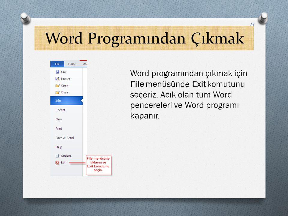 Word Programından Çıkmak