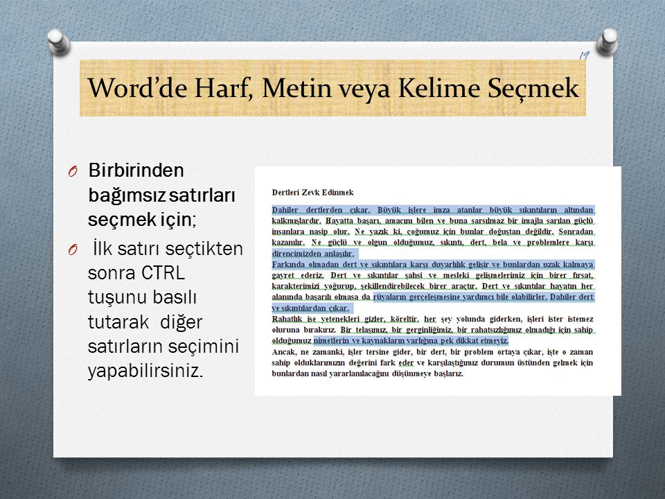 Word'de Harf, Metin veya Kelime Seçmek