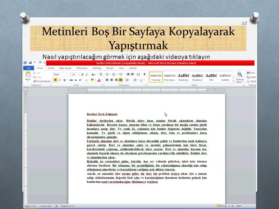 Metinleri Boş Bir Sayfaya Kopyalayarak Yapıştırmak