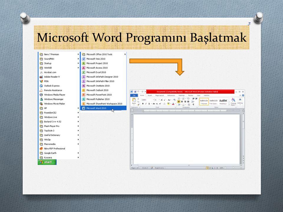 Microsoft Word Programını Başlatmak