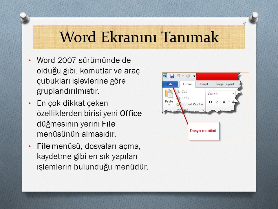 Word Ekranını Tanımak Word 2007 sürümünde de olduğu gibi, komutlar ve araç çubukları işlevlerine göre gruplandırılmıştır.