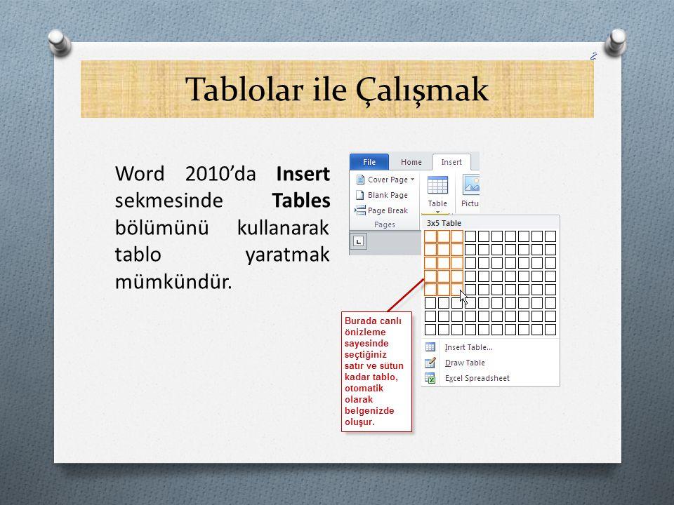 Tablolar ile Çalışmak Word 2010'da Insert sekmesinde Tables bölümünü kullanarak tablo yaratmak mümkündür.