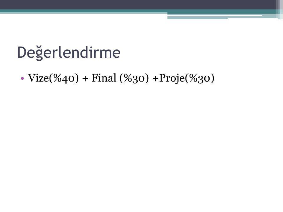 Değerlendirme Vize(%40) + Final (%30) +Proje(%30)