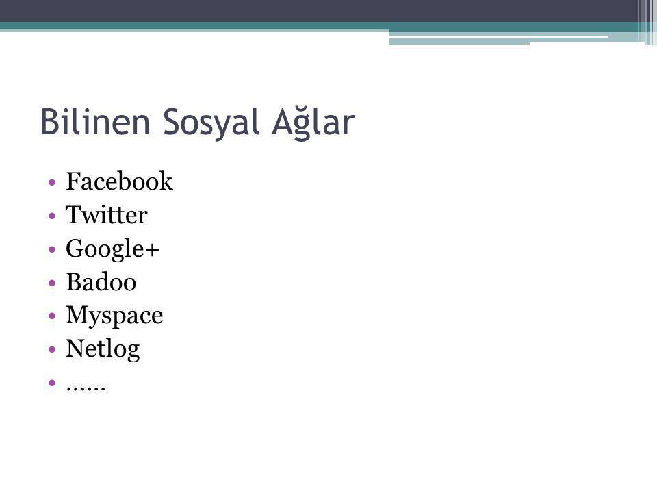 Bilinen Sosyal Ağlar Facebook Twitter Google+ Badoo Myspace Netlog ……