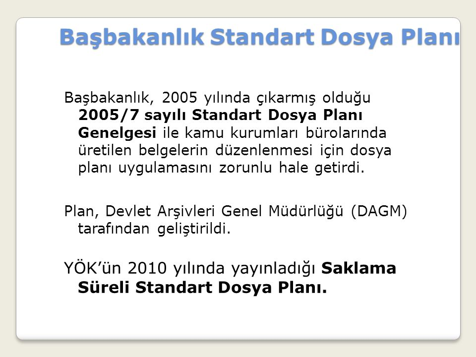 Başbakanlık Standart Dosya Planı