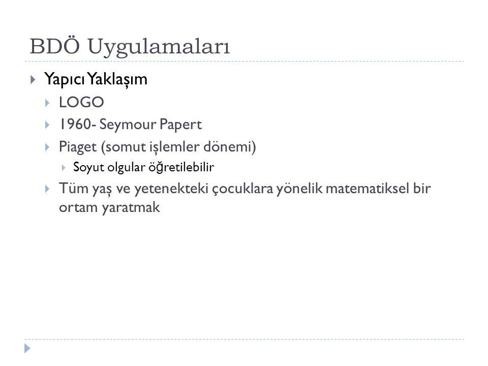 BDÖ Uygulamaları Yapıcı Yaklaşım LOGO 1960- Seymour Papert