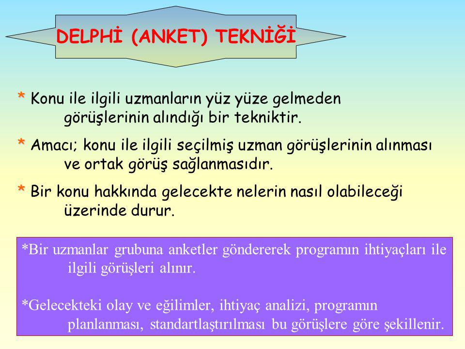DELPHİ (ANKET) TEKNİĞİ