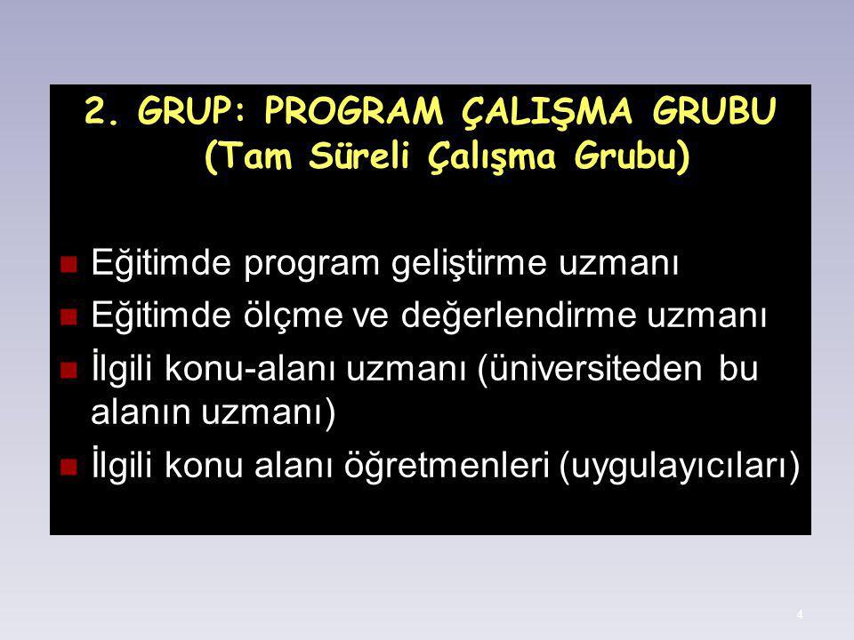 2. GRUP: PROGRAM ÇALIŞMA GRUBU (Tam Süreli Çalışma Grubu)