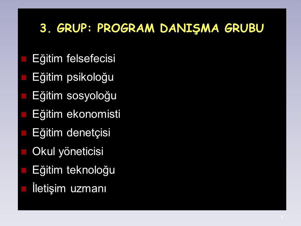 3. GRUP: PROGRAM DANIŞMA GRUBU