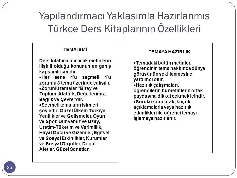 Yapılandırmacı Yaklaşımla Hazırlanmış Türkçe Ders Kitaplarının Özellikleri