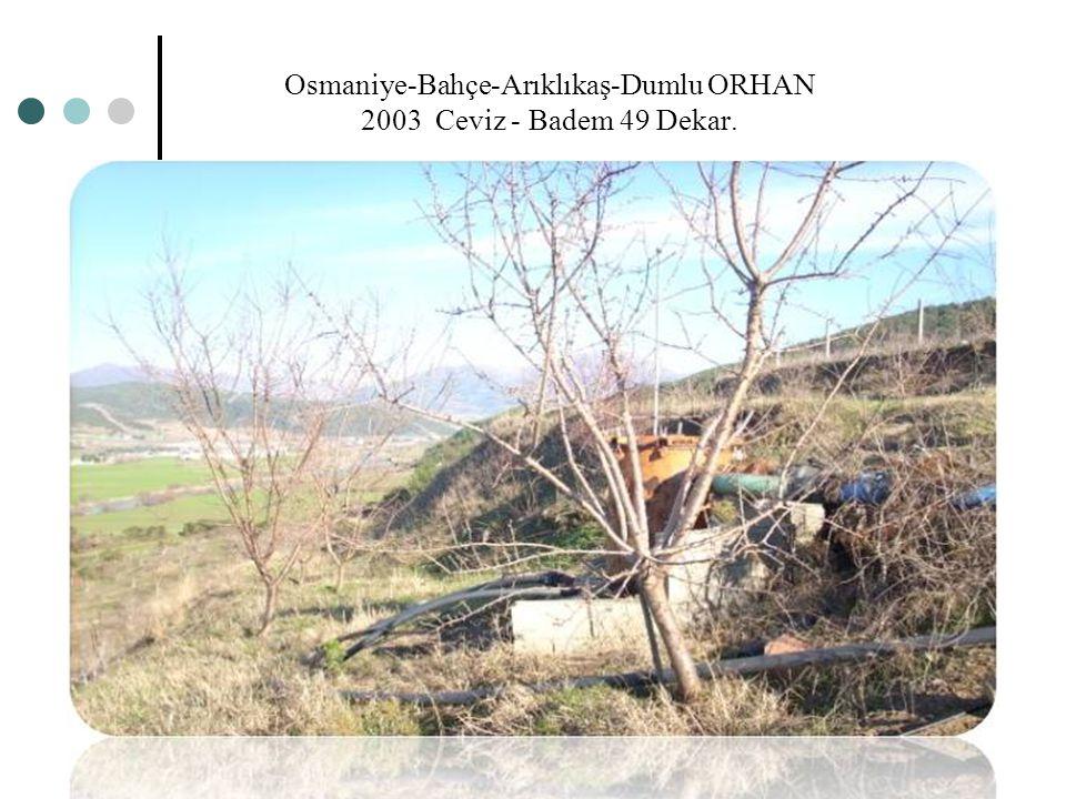 Osmaniye-Bahçe-Arıklıkaş-Dumlu ORHAN 2003 Ceviz - Badem 49 Dekar.