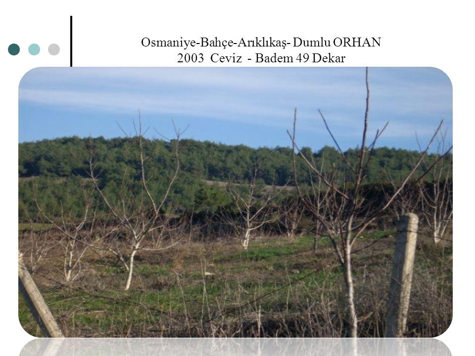 Osmaniye-Bahçe-Arıklıkaş- Dumlu ORHAN 2003 Ceviz - Badem 49 Dekar