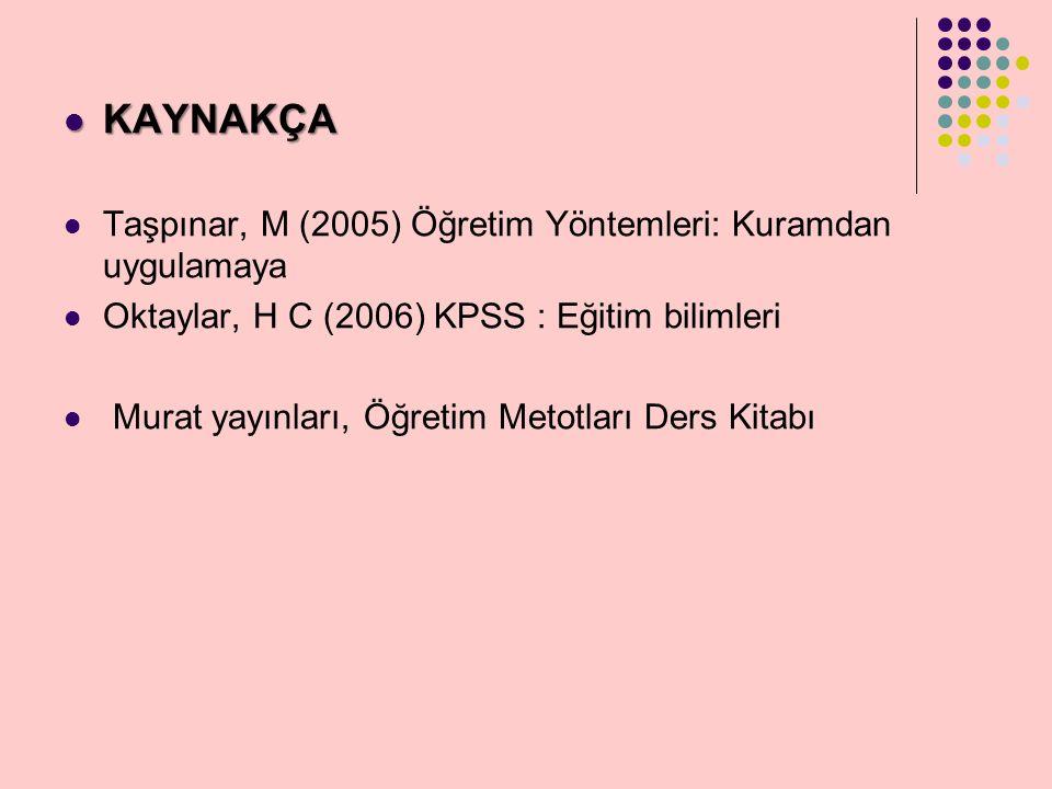 KAYNAKÇA Taşpınar, M (2005) Öğretim Yöntemleri: Kuramdan uygulamaya