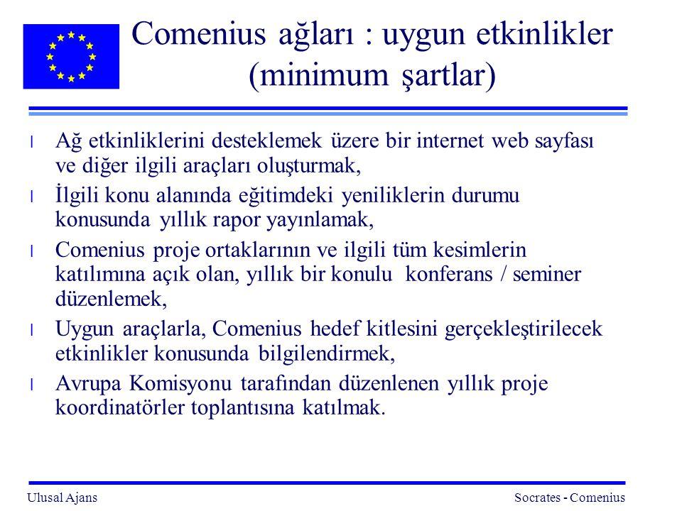 Comenius ağları : uygun etkinlikler (minimum şartlar)