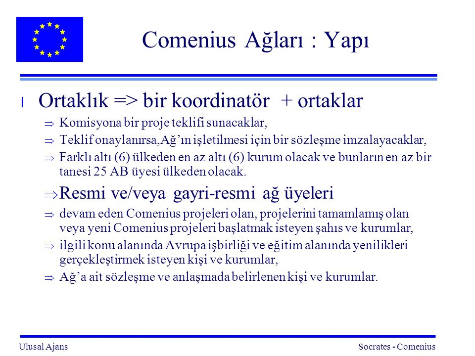 Comenius Ağları : Yapı Ortaklık => bir koordinatör + ortaklar