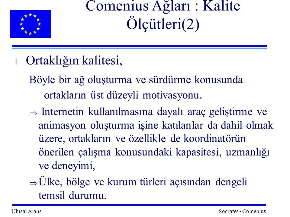 Comenius Ağları : Kalite Ölçütleri(2)