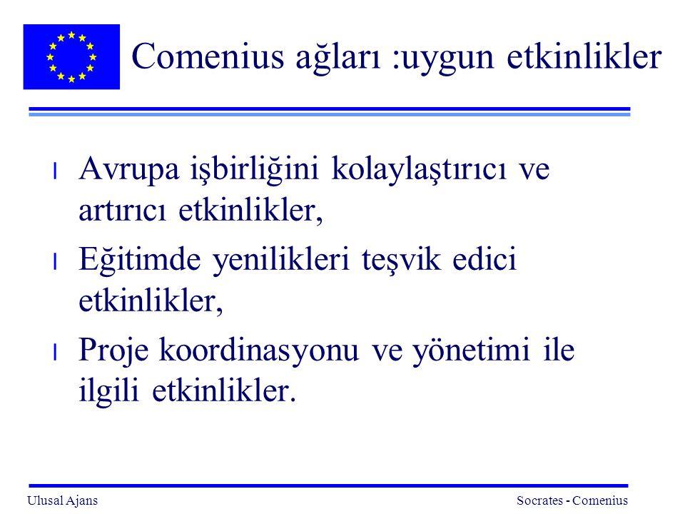 Comenius ağları :uygun etkinlikler