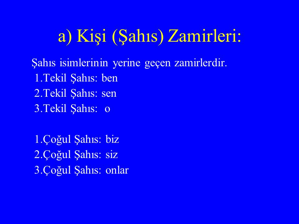 a) Kişi (Şahıs) Zamirleri: