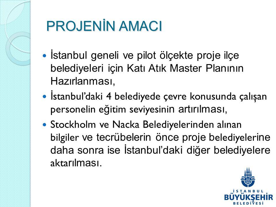 PROJENİN AMACI İstanbul geneli ve pilot ölçekte proje ilçe belediyeleri için Katı Atık Master Planının Hazırlanması,