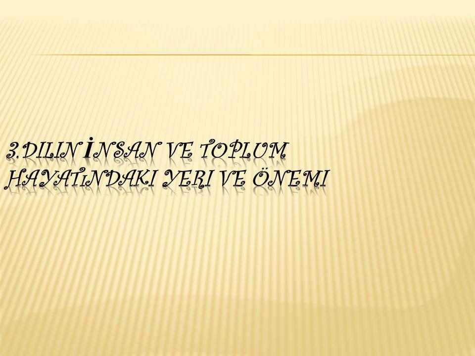 3.Dilin İnsan ve Toplum Hayatındaki Yeri ve Önemi