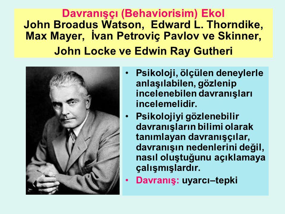 Davranışçı (Behaviorisim) Ekol John Broadus Watson, Edward L