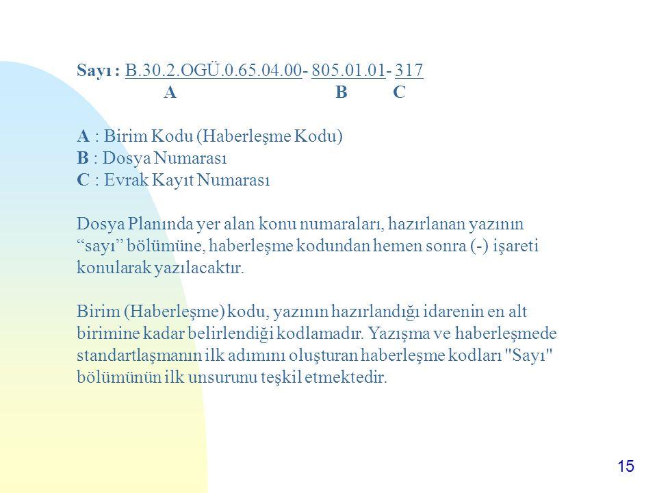 Sayı : B.30.2.OGÜ.0.65.04.00- 805.01.01- 317 A B C. A : Birim Kodu (Haberleşme Kodu)