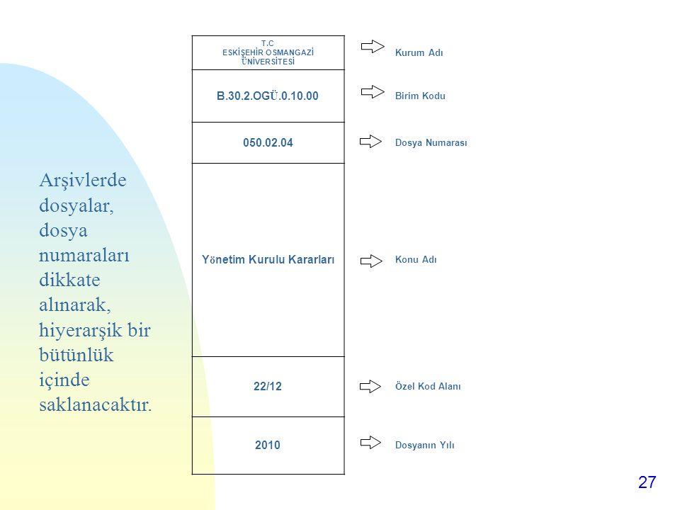 T.C ESKİŞEHİR OSMANGAZİ ÜNİVERSİTESİ Yönetim Kurulu Kararları