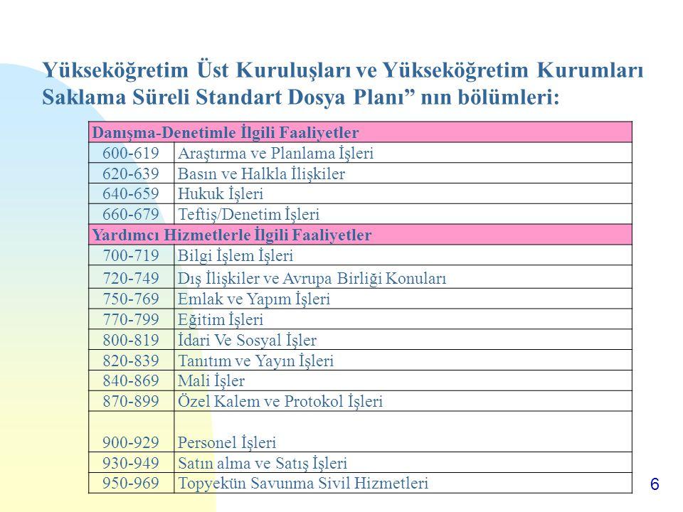 Yükseköğretim Üst Kuruluşları ve Yükseköğretim Kurumları Saklama Süreli Standart Dosya Planı nın bölümleri: