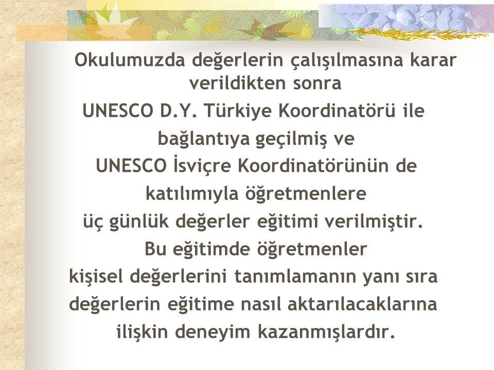 UNESCO D.Y. Türkiye Koordinatörü ile bağlantıya geçilmiş ve
