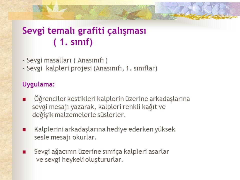 Sevgi temalı grafiti çalışması ( 1. sınıf)