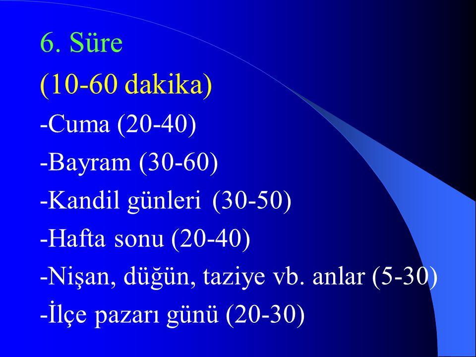 (10-60 dakika) -Cuma (20-40) -Bayram (30-60) -Kandil günleri (30-50)