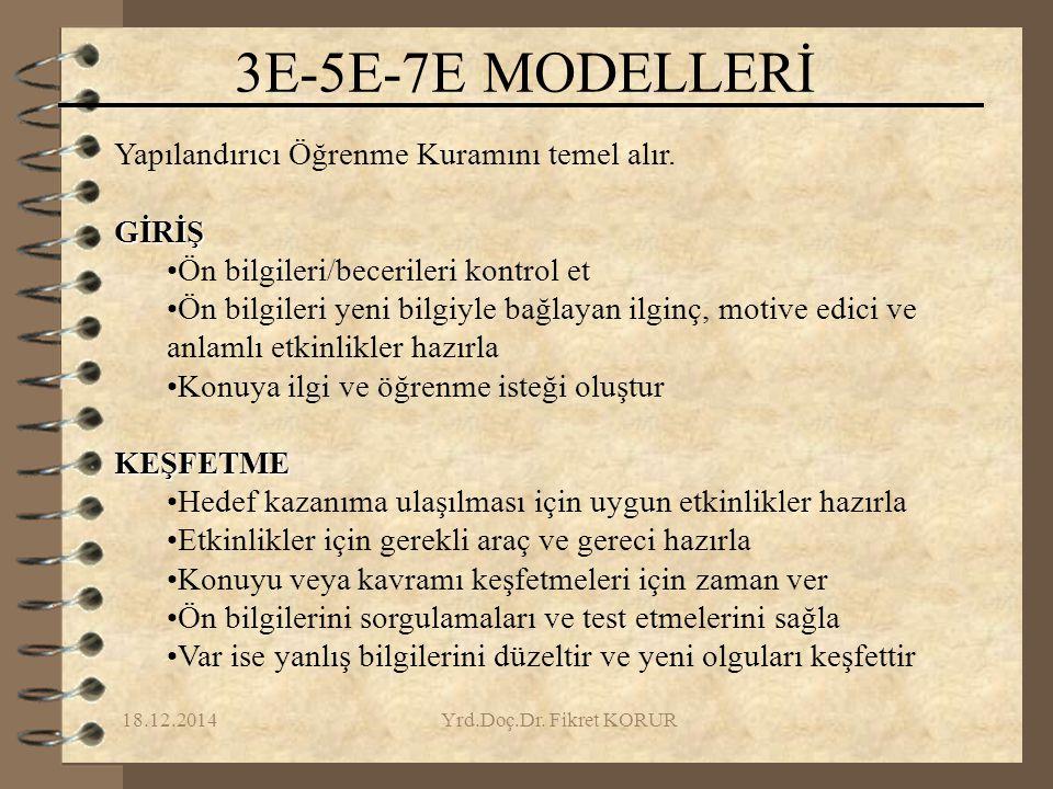 3E-5E-7E MODELLERİ Yapılandırıcı Öğrenme Kuramını temel alır. GİRİŞ