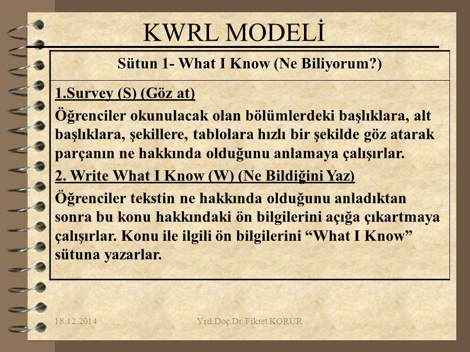 Sütun 1- What I Know (Ne Biliyorum )
