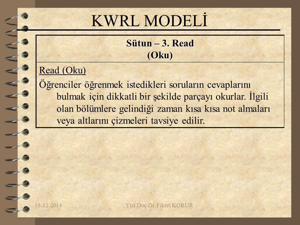 KWRL MODELİ Sütun – 3. Read (Oku) Read (Oku)