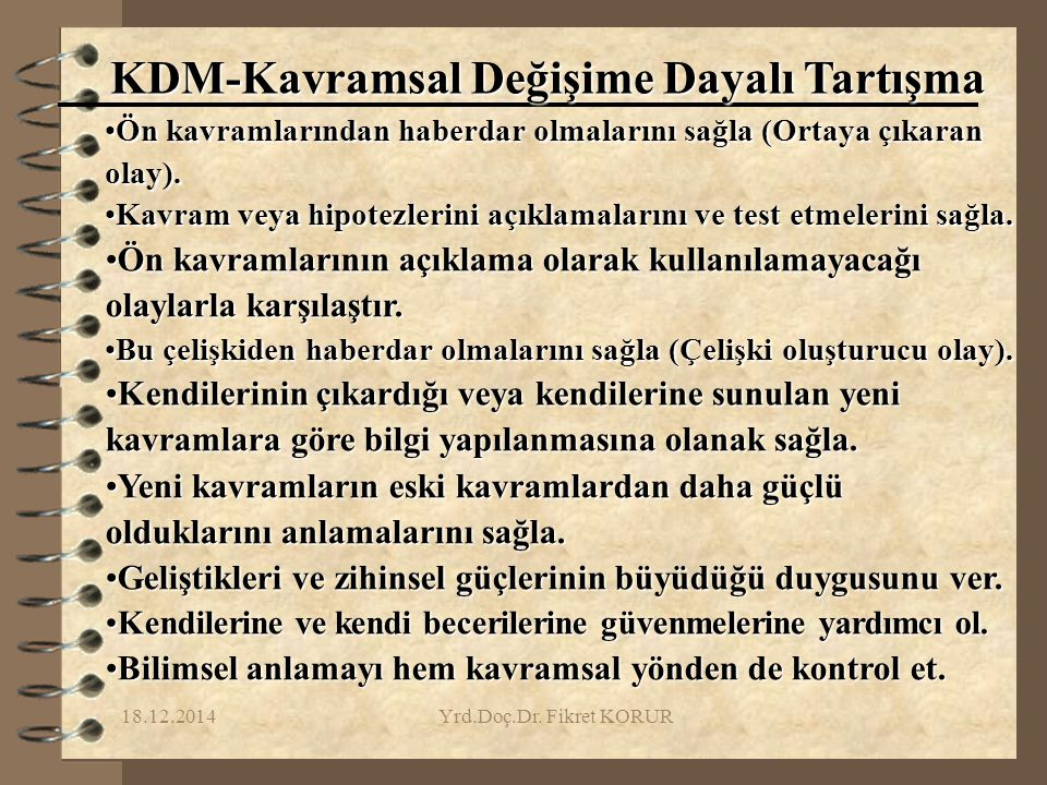 KDM-Kavramsal Değişime Dayalı Tartışma