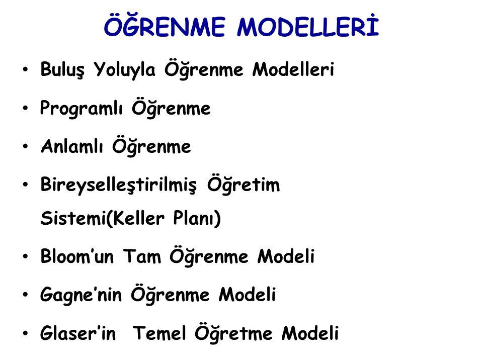 ÖĞRENME MODELLERİ Buluş Yoluyla Öğrenme Modelleri Programlı Öğrenme