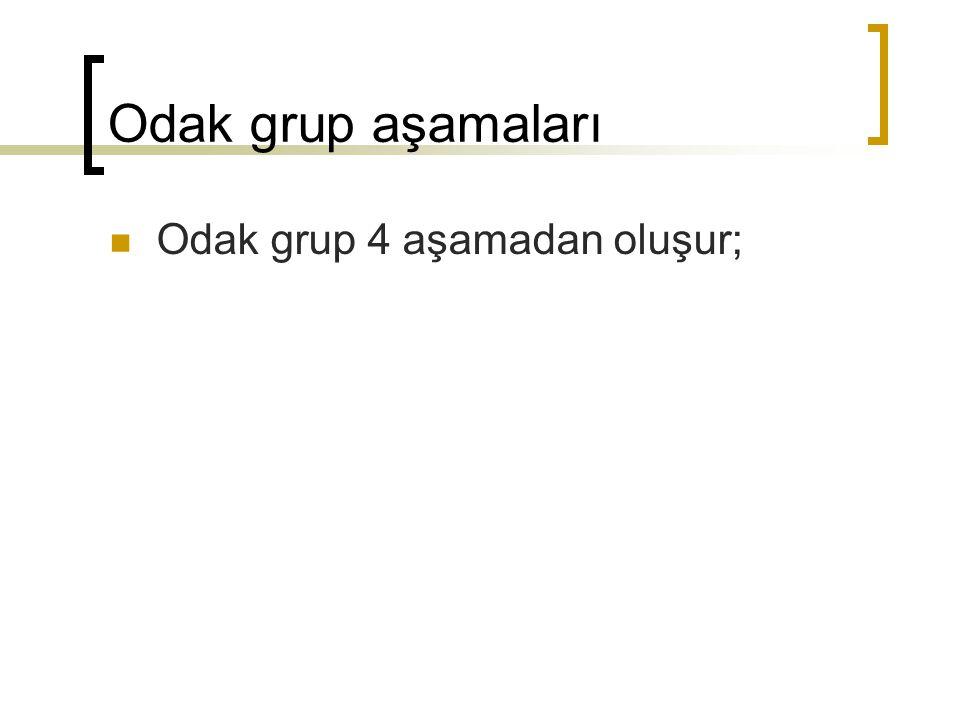 Odak grup aşamaları Odak grup 4 aşamadan oluşur;