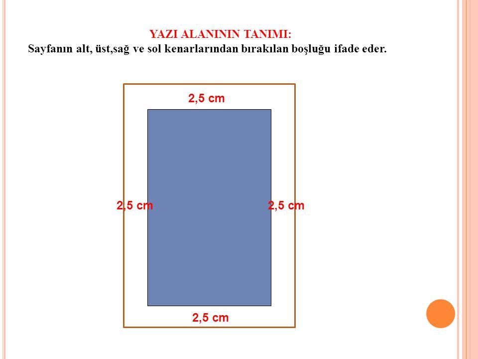 YAZI ALANININ TANIMI: Sayfanın alt, üst,sağ ve sol kenarlarından bırakılan boşluğu ifade eder. 2,5 cm.