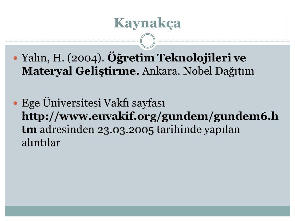 Kaynakça Yalın, H. (2004). Öğretim Teknolojileri ve Materyal Geliştirme. Ankara. Nobel Dağıtım.