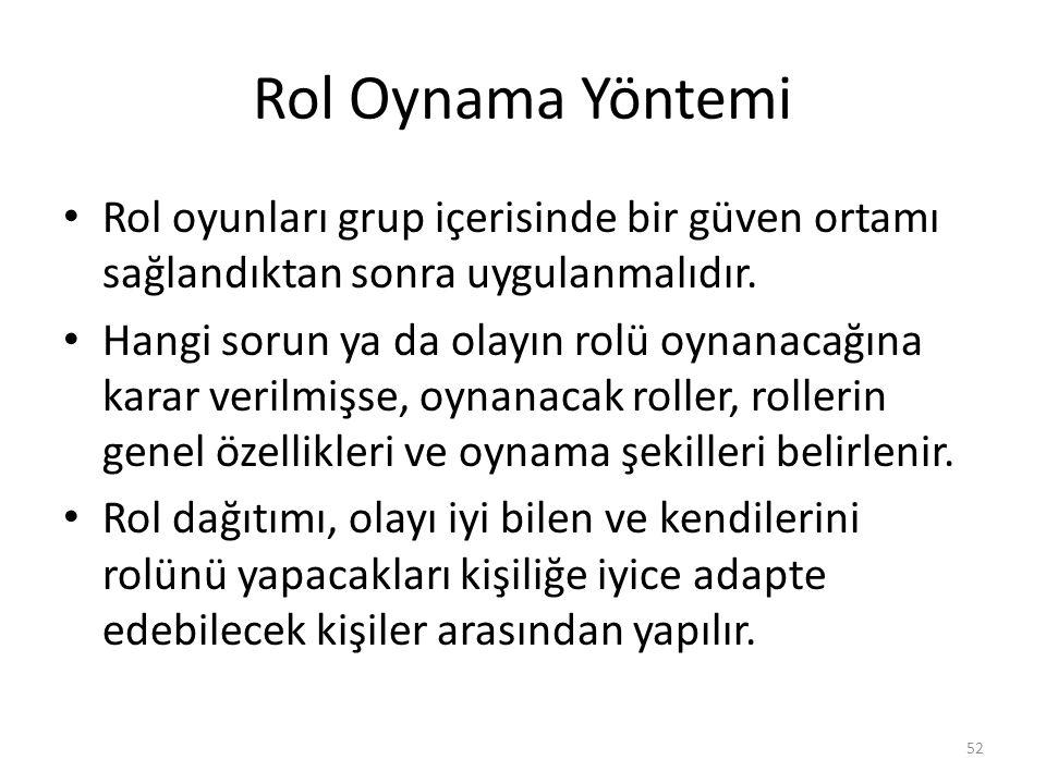 Rol Oynama Yöntemi Rol oyunları grup içerisinde bir güven ortamı sağlandıktan sonra uygulanmalıdır.