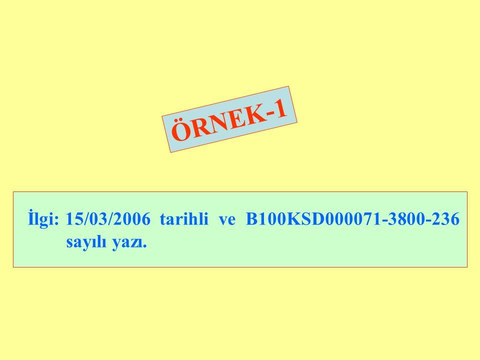 İlgi: 15/03/2006 tarihli ve B100KSD000071-3800-236 sayılı yazı.