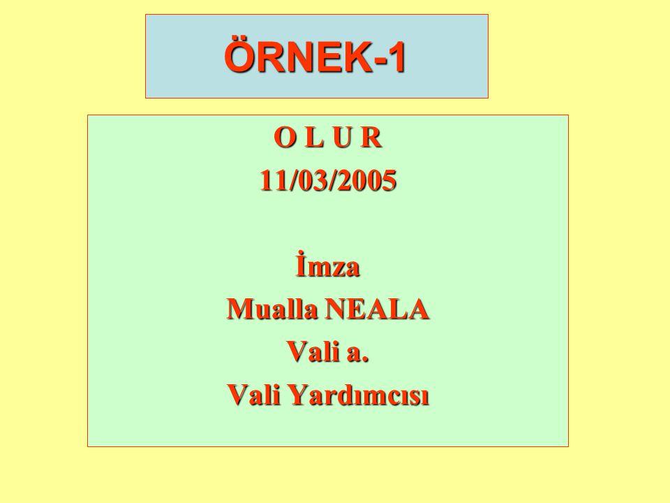 ÖRNEK-1 O L U R 11/03/2005 İmza Mualla NEALA Vali a. Vali Yardımcısı