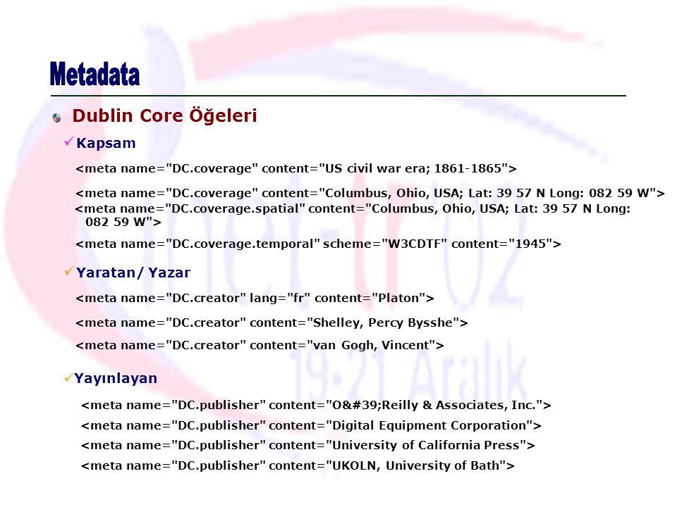 Metadata Dublin Core Öğeleri Kapsam Yaratan/ Yazar Yayınlayan