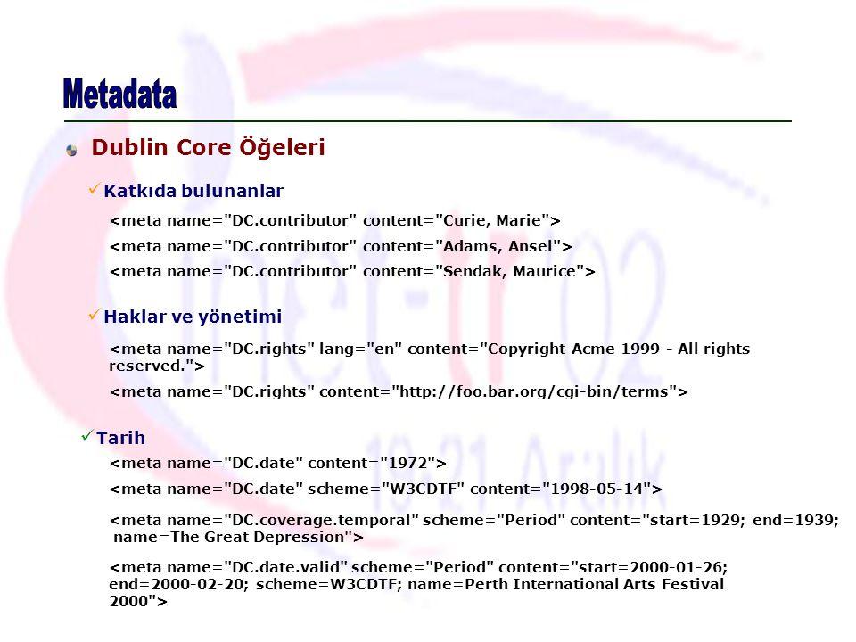 Metadata Dublin Core Öğeleri Katkıda bulunanlar Haklar ve yönetimi