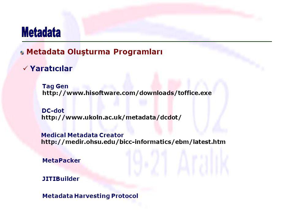Metadata Yaratıcılar Metadata Oluşturma Programları Tag Gen