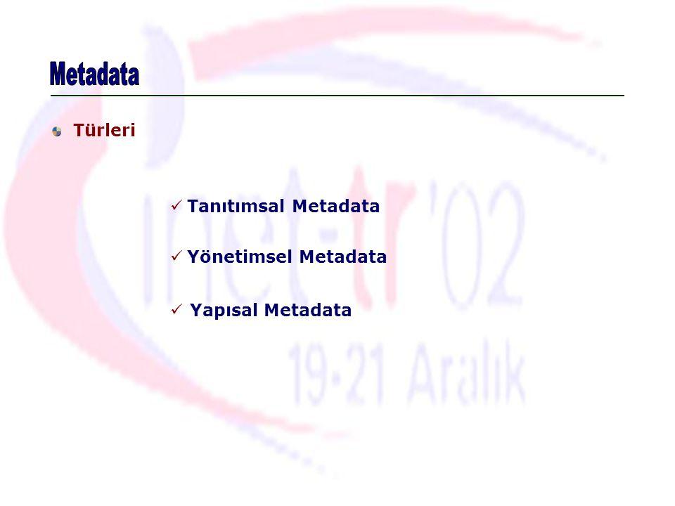 Metadata Türleri Tanıtımsal Metadata Yönetimsel Metadata