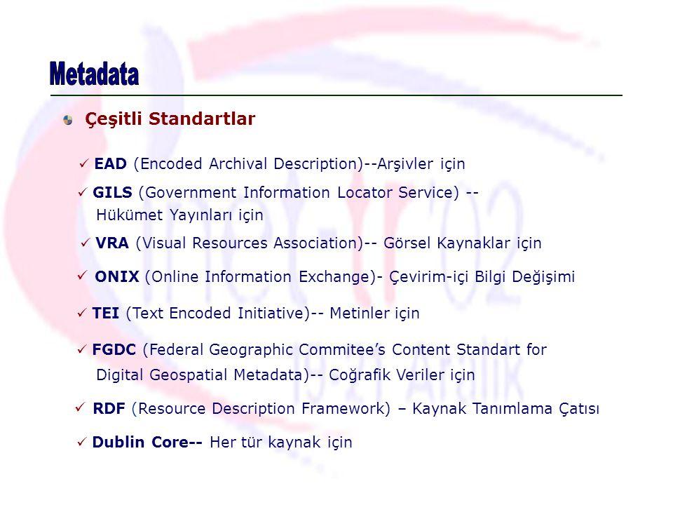 Metadata Çeşitli Standartlar
