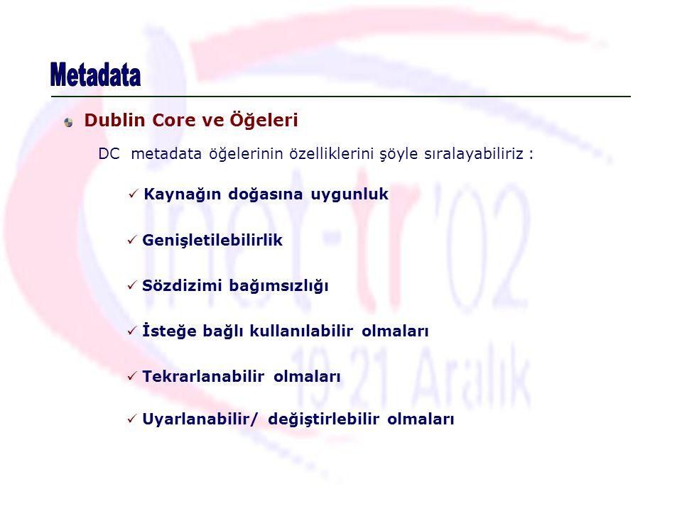 Metadata Dublin Core ve Öğeleri