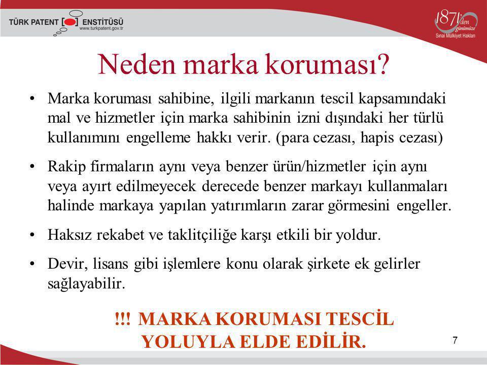 !!! MARKA KORUMASI TESCİL YOLUYLA ELDE EDİLİR.