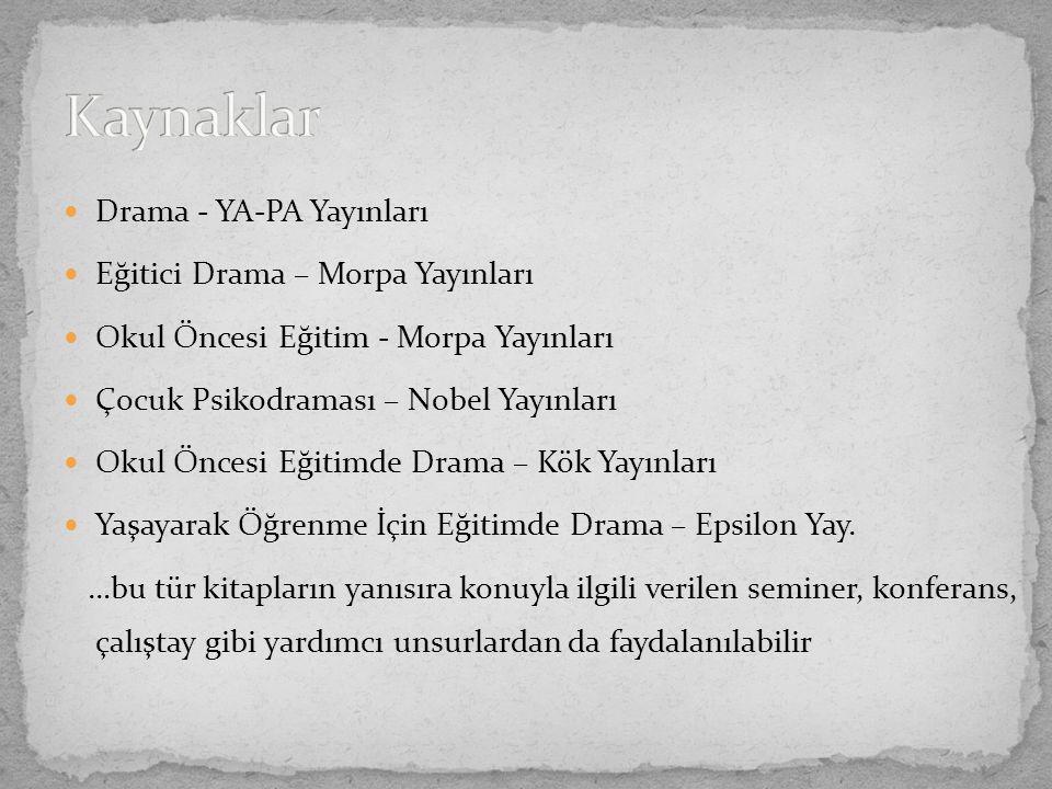 Kaynaklar Drama - YA-PA Yayınları Eğitici Drama – Morpa Yayınları